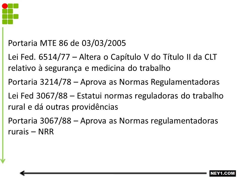 LEGISLAÇÃO BÁSICA Portaria MTE 86 de 03/03/2005 Lei Fed.