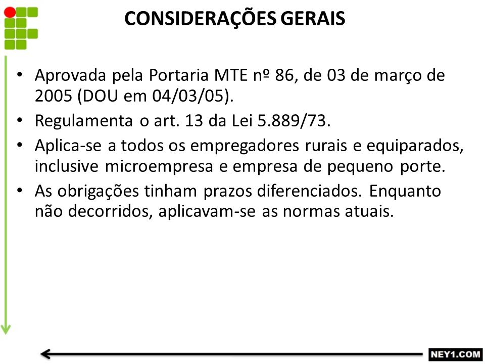 CONSIDERAÇÕES GERAIS Aprovada pela Portaria MTE nº 86, de 03 de março de 2005 (DOU em 04/03/05). Regulamenta o art. 13 da Lei 5.889/73. Aplica-se a to