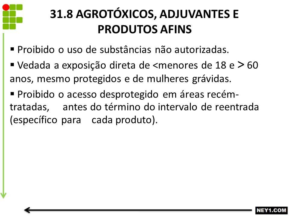31.8 AGROTÓXICOS, ADJUVANTES E PRODUTOS AFINS  Proibido o uso de substâncias não autorizadas.  Vedada a exposição direta de 60 anos, mesmo protegido