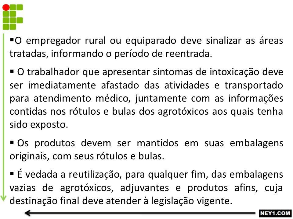  O empregador rural ou equiparado deve sinalizar as áreas tratadas, informando o período de reentrada.  O trabalhador que apresentar sintomas de int