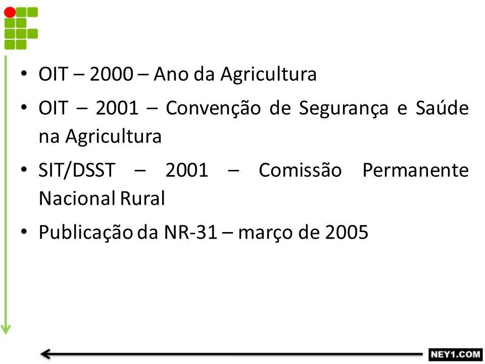 OIT – 2000 – Ano da Agricultura OIT – 2001 – Convenção de Segurança e Saúde na Agricultura SIT/DSST – 2001 – Comissão Permanente Nacional Rural Publicação da NR-31 – março de 2005