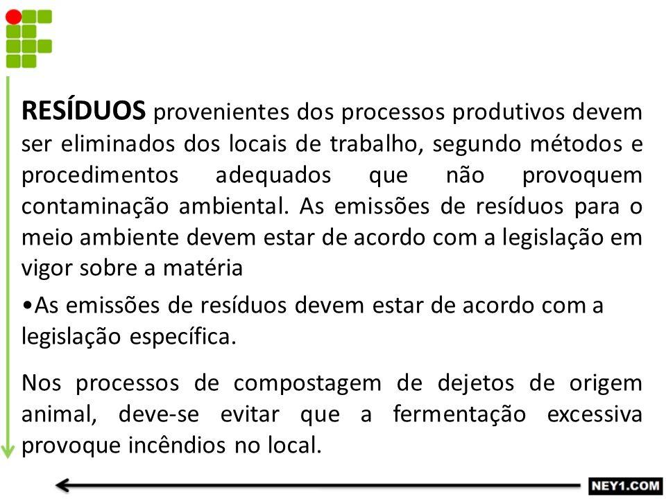 RESÍDUOS provenientes dos processos produtivos devem ser eliminados dos locais de trabalho, segundo métodos e procedimentos adequados que não provoquem contaminação ambiental.