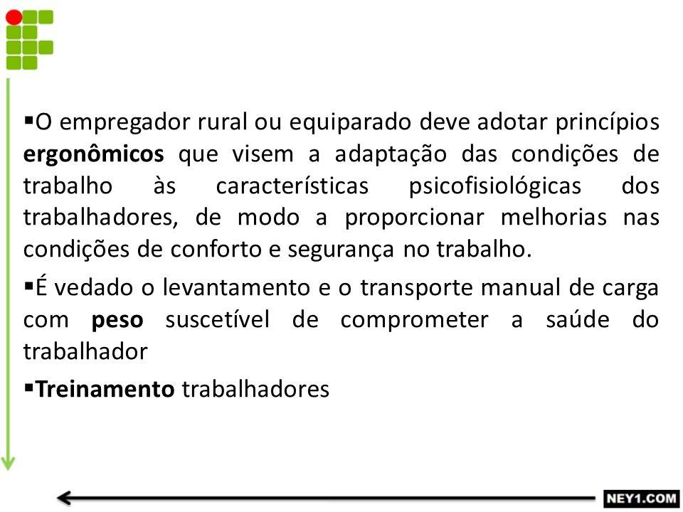  O empregador rural ou equiparado deve adotar princípios ergonômicos que visem a adaptação das condições de trabalho às características psicofisiológ