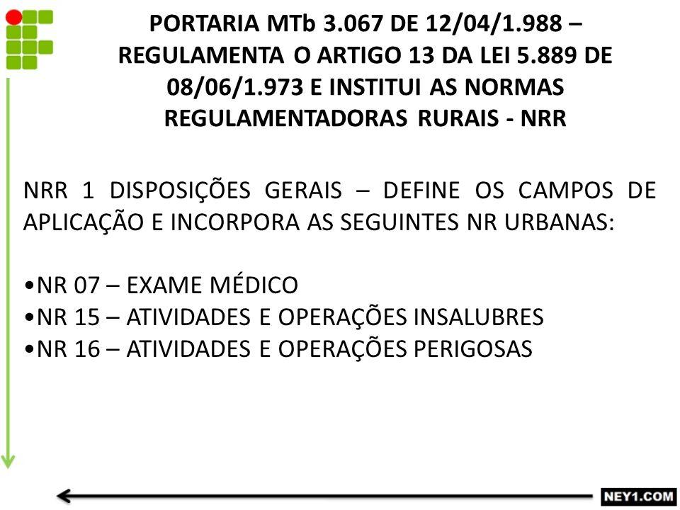 PORTARIA MTb 3.067 DE 12/04/1.988 – REGULAMENTA O ARTIGO 13 DA LEI 5.889 DE 08/06/1.973 E INSTITUI AS NORMAS REGULAMENTADORAS RURAIS - NRR NRR 1 DISPOSIÇÕES GERAIS – DEFINE OS CAMPOS DE APLICAÇÃO E INCORPORA AS SEGUINTES NR URBANAS: NR 07 – EXAME MÉDICO NR 15 – ATIVIDADES E OPERAÇÕES INSALUBRES NR 16 – ATIVIDADES E OPERAÇÕES PERIGOSAS