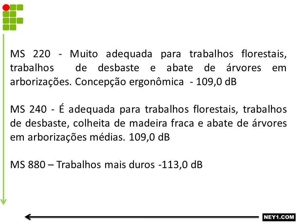 MS 220 - Muito adequada para trabalhos florestais, trabalhos de desbaste e abate de árvores em arborizações. Concepção ergonômica - 109,0 dB MS 240 -