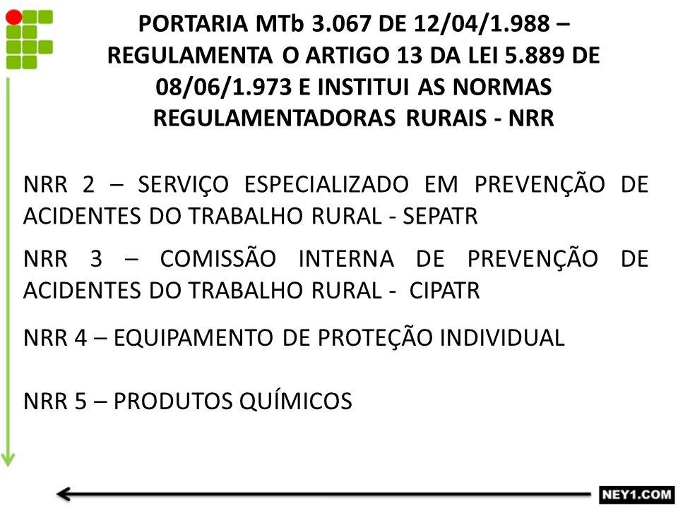 NRR 2 – SERVIÇO ESPECIALIZADO EM PREVENÇÃO DE ACIDENTES DO TRABALHO RURAL - SEPATR NRR 3 – COMISSÃO INTERNA DE PREVENÇÃO DE ACIDENTES DO TRABALHO RURAL - CIPATR PORTARIA MTb 3.067 DE 12/04/1.988 – REGULAMENTA O ARTIGO 13 DA LEI 5.889 DE 08/06/1.973 E INSTITUI AS NORMAS REGULAMENTADORAS RURAIS - NRR NRR 4 – EQUIPAMENTO DE PROTEÇÃO INDIVIDUAL NRR 5 – PRODUTOS QUÍMICOS