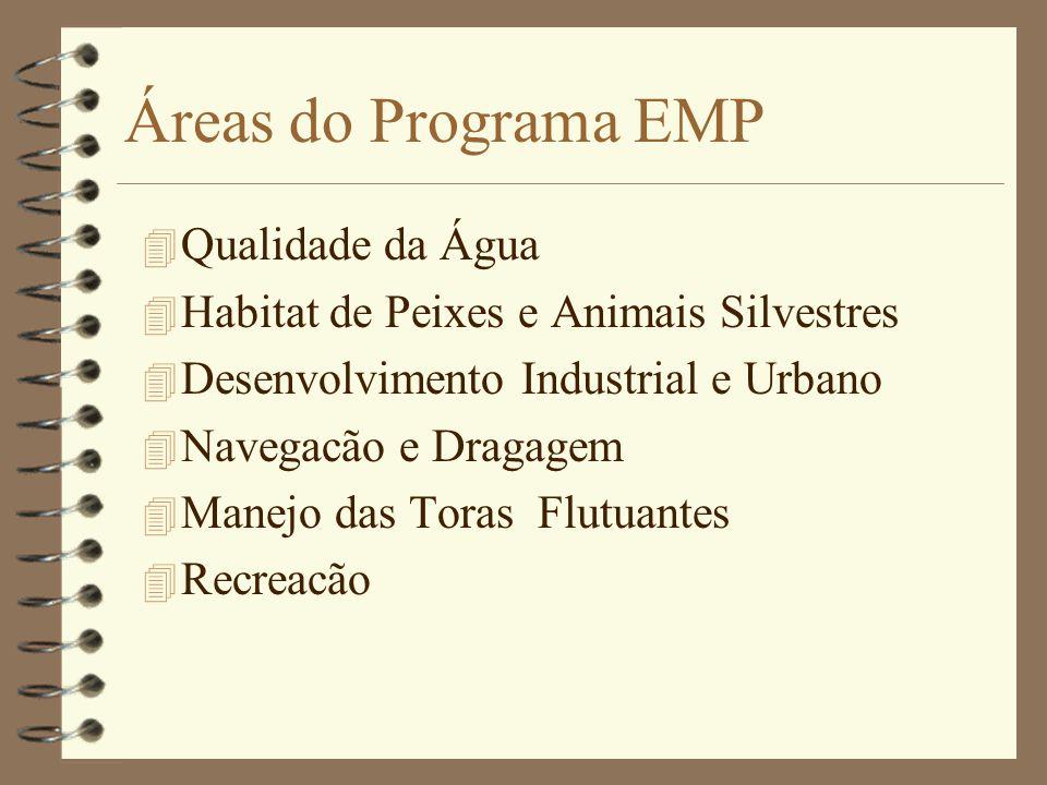 Áreas do Programa EMP 4 Qualidade da Água 4 Habitat de Peixes e Animais Silvestres 4 Desenvolvimento Industrial e Urbano 4 Navegacão e Dragagem 4 Manejo das Toras Flutuantes 4 Recreacão