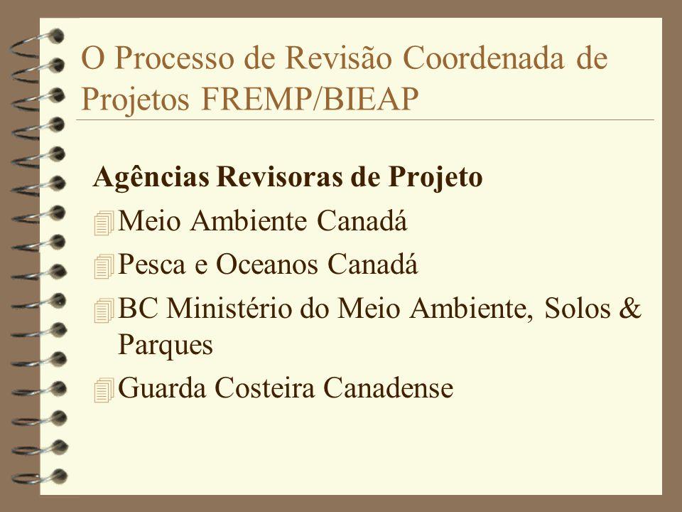 O Processo de Revisão Coordenada de Projetos FREMP/BIEAP Agências Revisoras de Projeto 4 Meio Ambiente Canadá 4 Pesca e Oceanos Canadá 4 BC Ministério do Meio Ambiente, Solos & Parques 4 Guarda Costeira Canadense