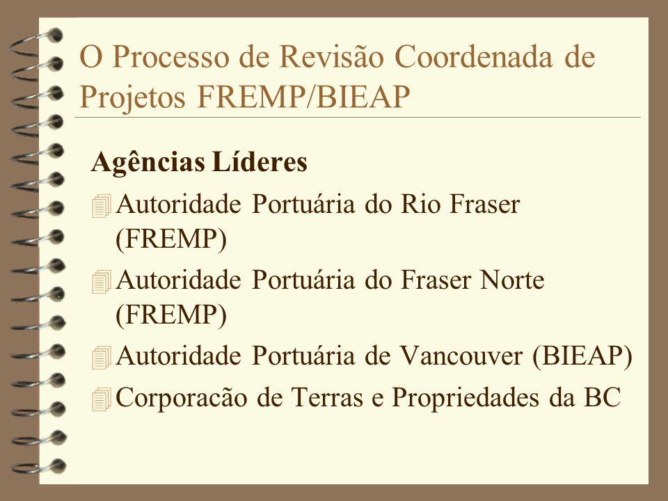O Processo de Revisão Coordenada de Projetos FREMP/BIEAP Agências Líderes 4 Autoridade Portuária do Rio Fraser (FREMP) 4 Autoridade Portuária do Fraser Norte (FREMP) 4 Autoridade Portuária de Vancouver (BIEAP) 4 Corporacão de Terras e Propriedades da BC