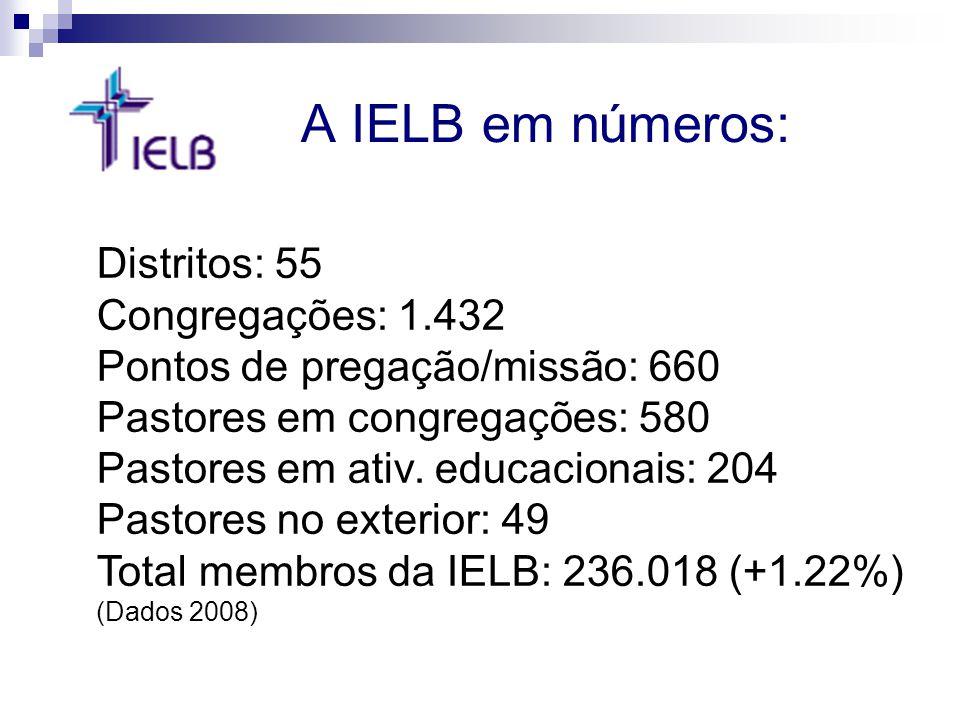 A IELB em números: Distritos: 55 Congregações: 1.432 Pontos de pregação/missão: 660 Pastores em congregações: 580 Pastores em ativ. educacionais: 204