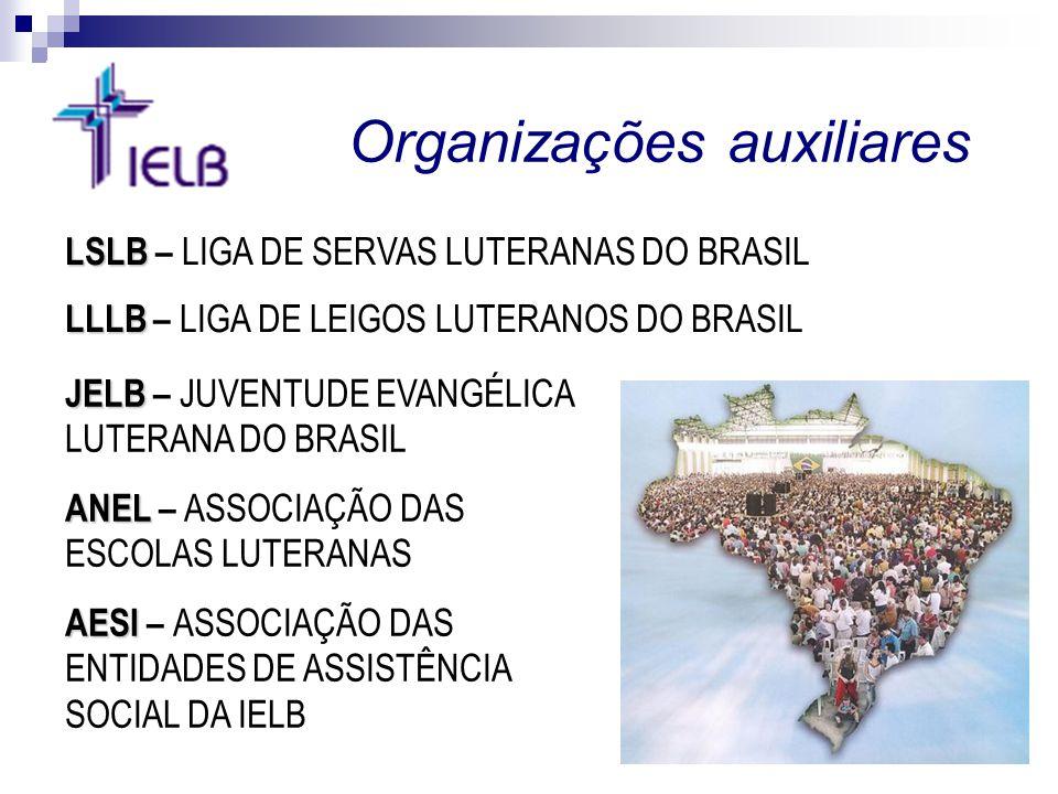 Organizações auxiliares JELB JELB – JUVENTUDE EVANGÉLICA LUTERANA DO BRASIL ANEL ANEL – ASSOCIAÇÃO DAS ESCOLAS LUTERANAS AESI AESI – ASSOCIAÇÃO DAS EN