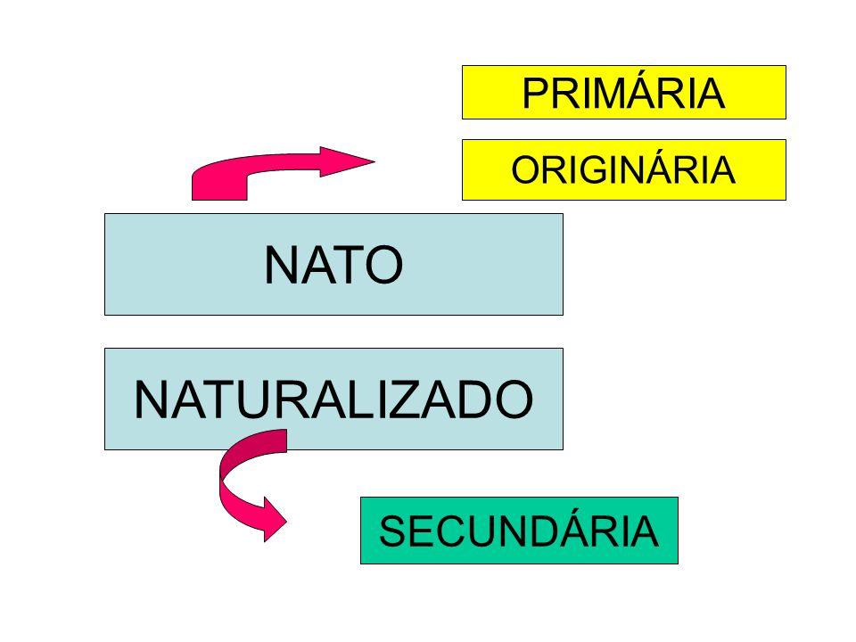 NATO NATURALIZADO PRIMÁRIA ORIGINÁRIA SECUNDÁRIA