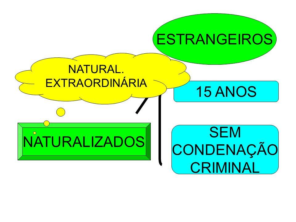 NATURALIZADOS ESTRANGEIROS 15 ANOS SEM CONDENAÇÃO CRIMINAL NATURAL. EXTRAORDINÁRIA