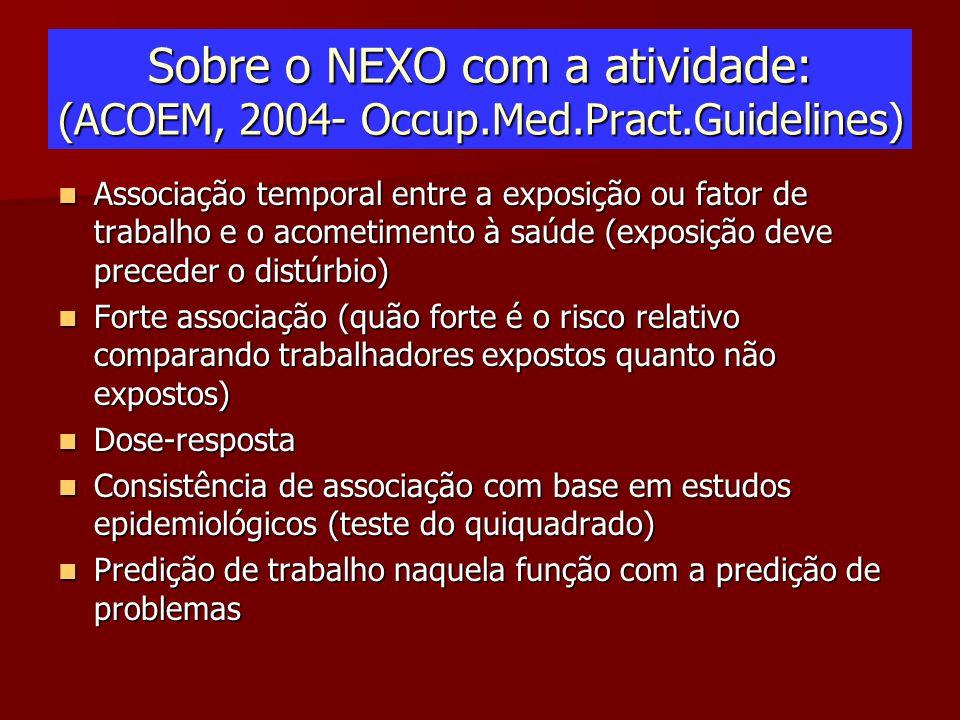 Sobre o NEXO com a atividade: (ACOEM, 2004- Occup.Med.Pract.Guidelines) Associação temporal entre a exposição ou fator de trabalho e o acometimento à