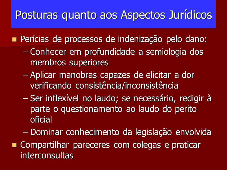 Posturas quanto aos Aspectos Jurídicos Perícias de processos de indenização pelo dano: Perícias de processos de indenização pelo dano: –Conhecer em pr