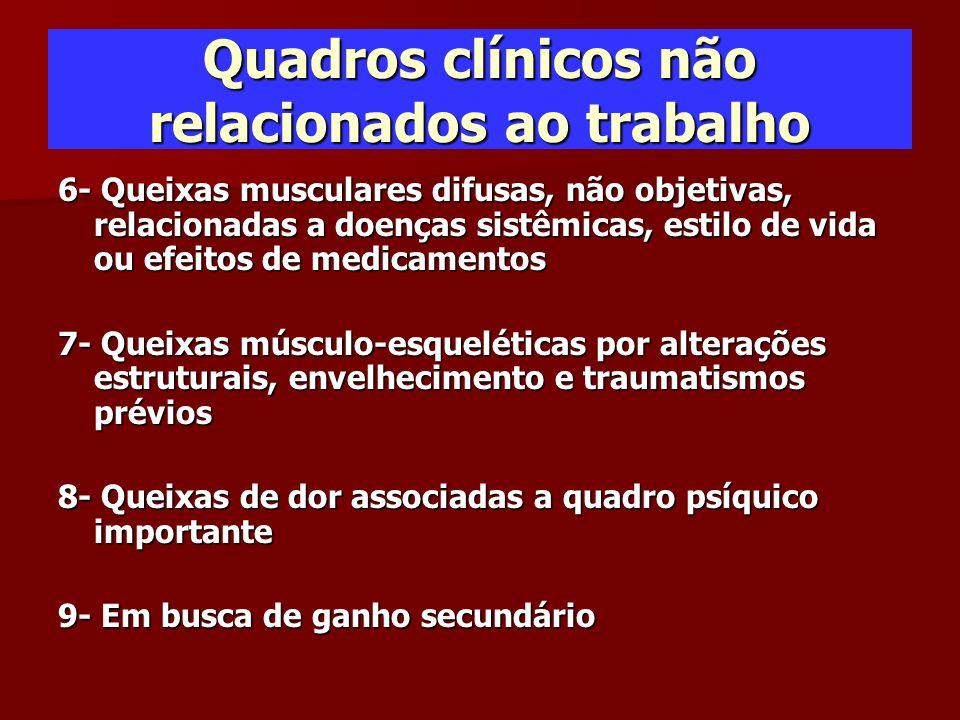 Quadros clínicos não relacionados ao trabalho 6- Queixas musculares difusas, não objetivas, relacionadas a doenças sistêmicas, estilo de vida ou efeit