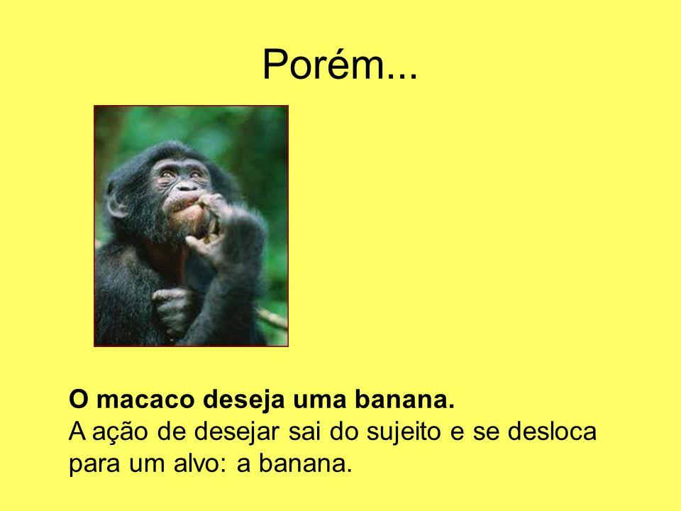 Porém... O macaco deseja uma banana. A ação de desejar sai do sujeito e se desloca para um alvo: a banana.