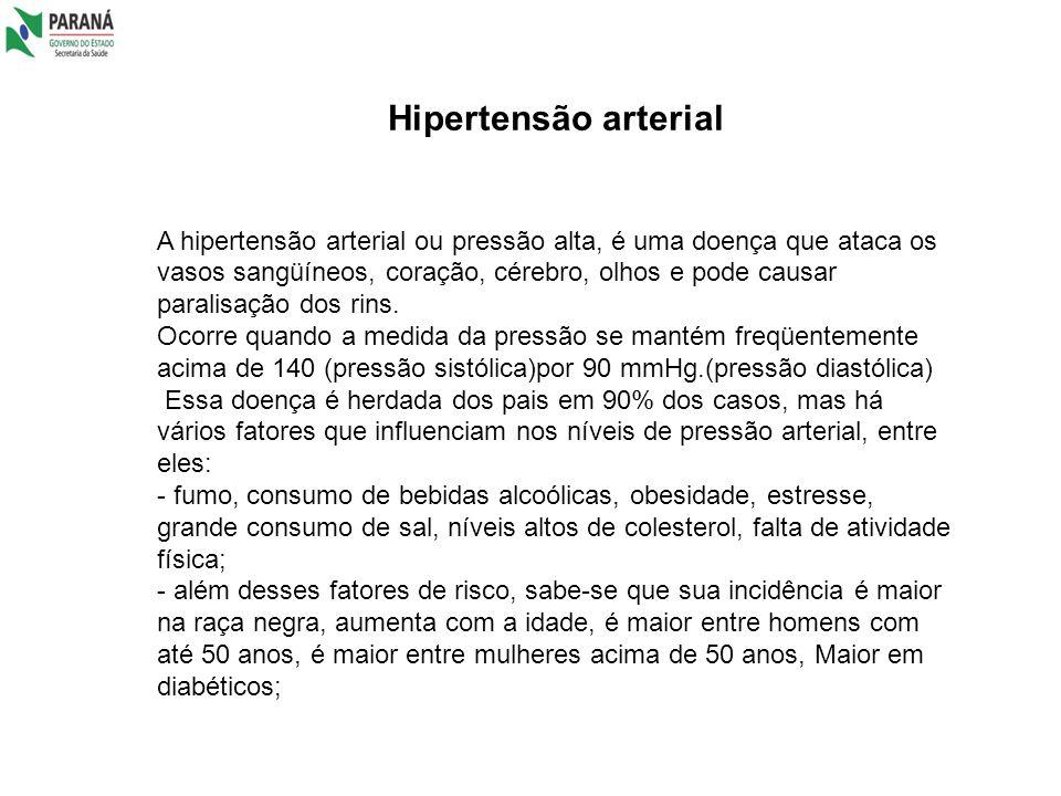 Hipertensão arterial A hipertensão arterial ou pressão alta, é uma doença que ataca os vasos sangüíneos, coração, cérebro, olhos e pode causar paralis