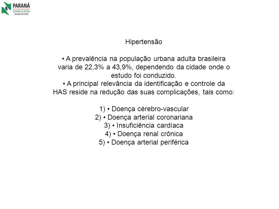 Hipertensão A prevalência na população urbana adulta brasileira varia de 22,3% a 43,9%, dependendo da cidade onde o estudo foi conduzido. A principal