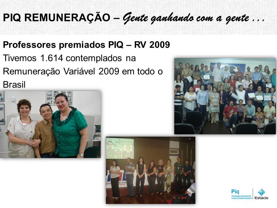 Professores premiados PIQ – RV 2009 Tivemos 1.614 contemplados na Remuneração Variável 2009 em todo o Brasil PIQ REMUNERAÇÃO – Gente ganhando com a gente...