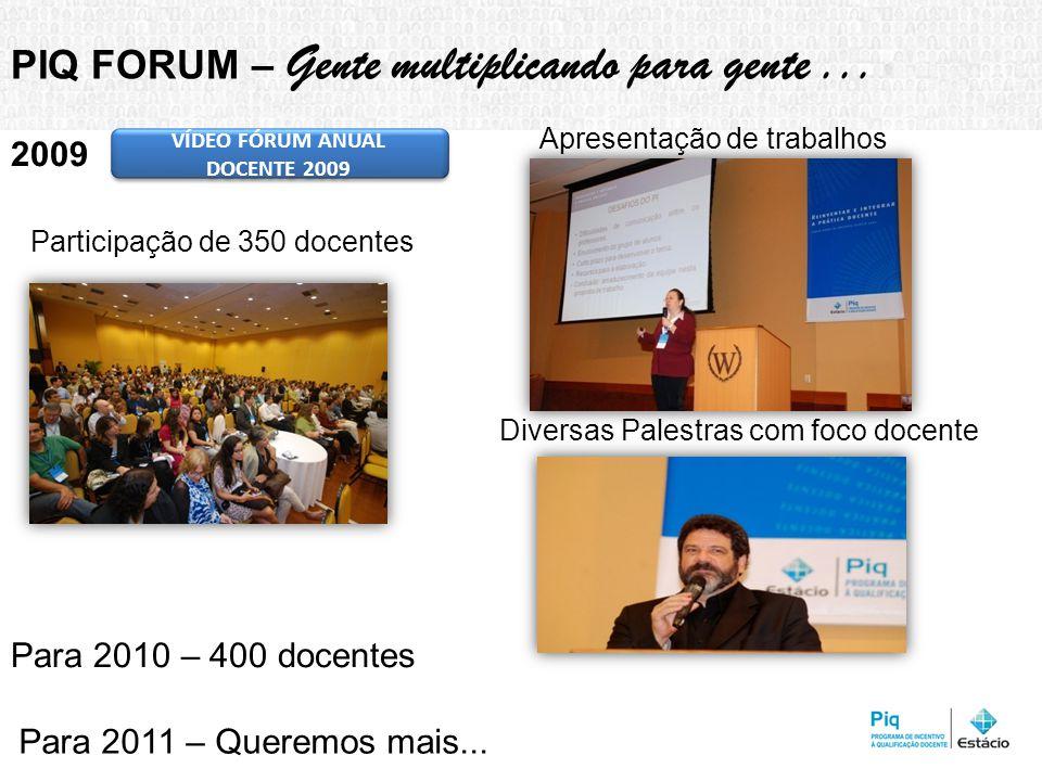 Participação de 350 docentes PIQ FORUM – Gente multiplicando para gente...