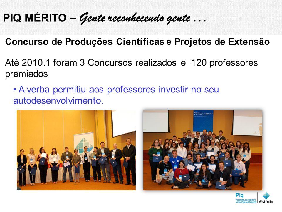 Concurso de Produções Científicas e Projetos de Extensão Até 2010.1 foram 3 Concursos realizados e 120 professores premiados A verba permitiu aos professores investir no seu autodesenvolvimento.