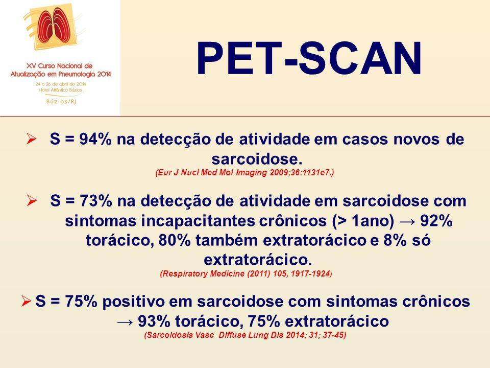  S = 94% na detecção de atividade em casos novos de sarcoidose. (Eur J Nucl Med Mol Imaging 2009;36:1131e7.)  S = 73% na detecção de atividade em sa