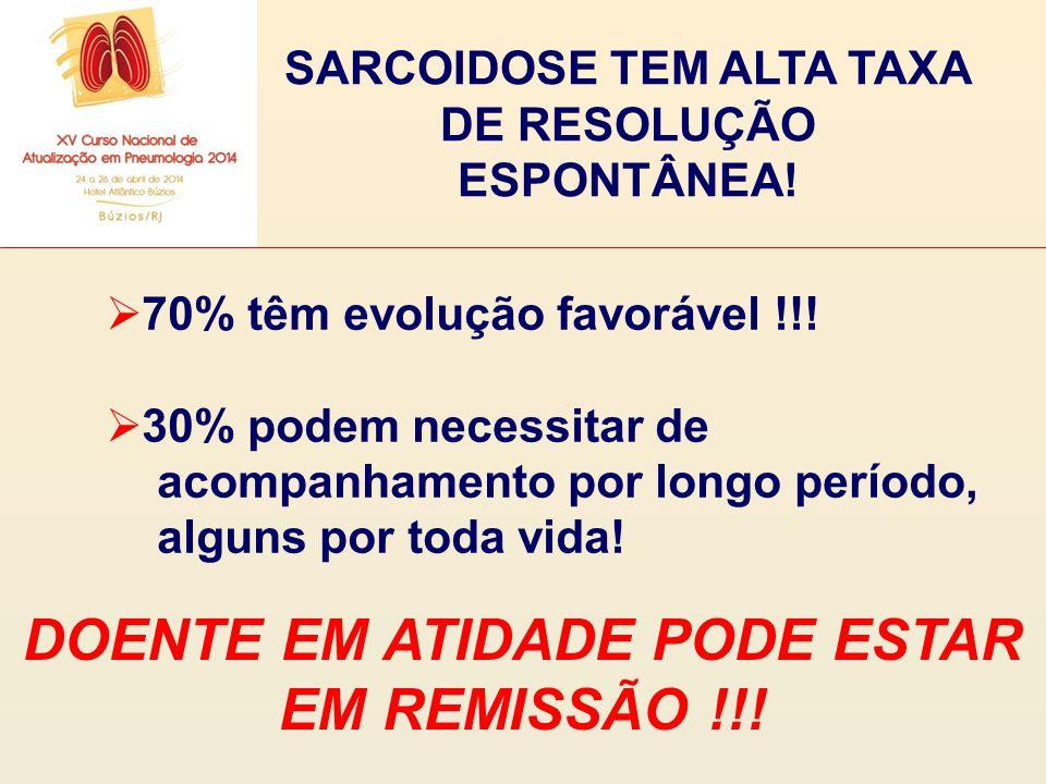SARCOIDOSE TEM ALTA TAXA DE RESOLUÇÃO ESPONTÂNEA!  70% têm evolução favorável !!!  30% podem necessitar de acompanhamento por longo período, alguns