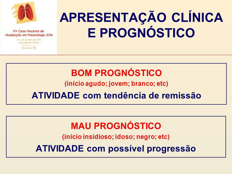 APRESENTAÇÃO CLÍNICA E PROGNÓSTICO BOM PROGNÓSTICO (início agudo; jovem; branco; etc) ATIVIDADE com tendência de remissão MAU PROGNÓSTICO (início insi