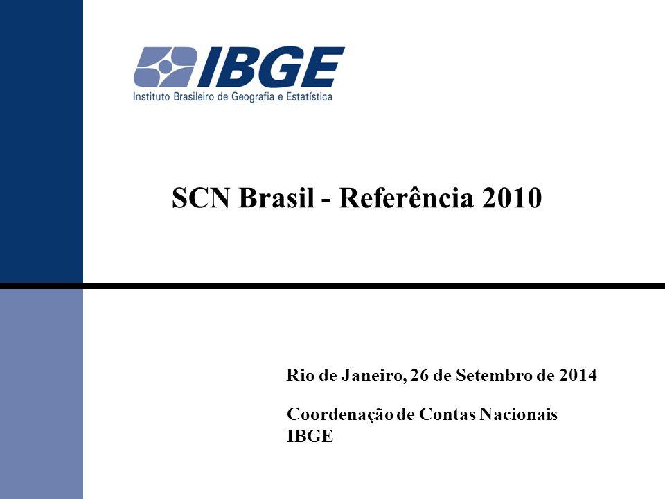 SCN Brasil - Referência 2010 Rio de Janeiro, 26 de Setembro de 2014 Coordenação de Contas Nacionais IBGE