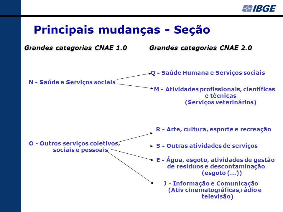 Principais mudanças - Seção Grandes categorias CNAE 2.0 Grandes categorias CNAE 1.0 N - Saúde e Serviços sociais Q - Saúde Humana e Serviços sociais M