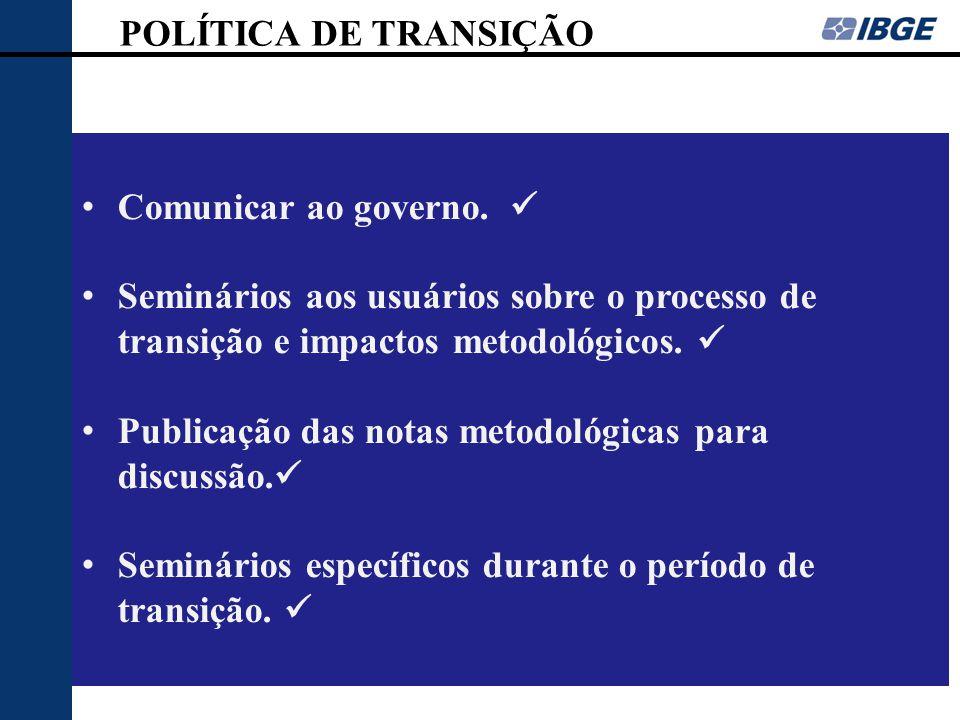 POLÍTICA DE TRANSIÇÃO Comunicar ao governo. Seminários aos usuários sobre o processo de transição e impactos metodológicos. Publicação das notas metod