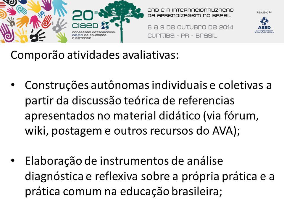Comporão atividades avaliativas: Construções autônomas individuais e coletivas a partir da discussão teórica de referencias apresentados no material d