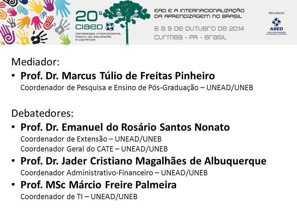 Mediador: Prof. Dr. Marcus Túlio de Freitas Pinheiro Coordenador de Pesquisa e Ensino de Pós-Graduação – UNEAD/UNEB Debatedores: Prof. Dr. Emanuel do