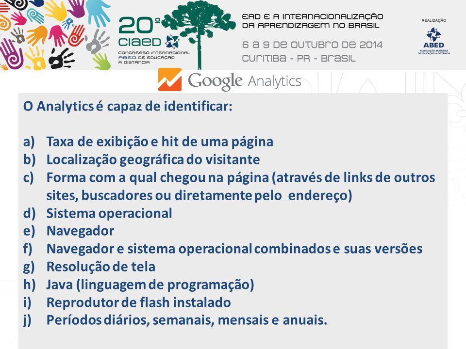 O Analytics é capaz de identificar: a)Taxa de exibição e hit de uma página b)Localização geográfica do visitante c)Forma com a qual chegou na página (