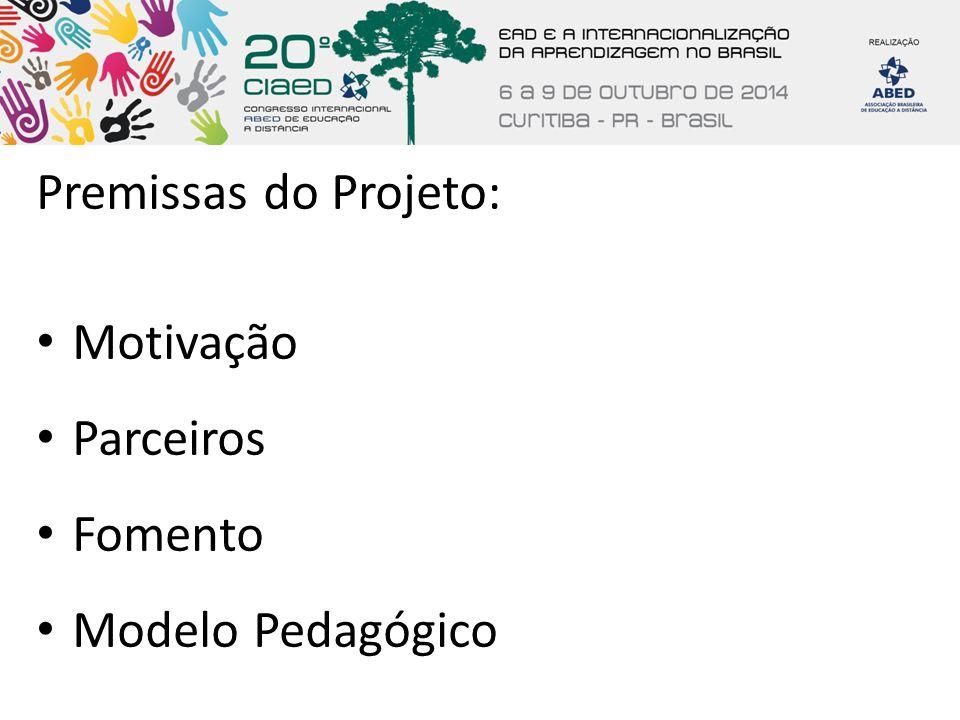 Premissas do Projeto: Motivação Parceiros Fomento Modelo Pedagógico