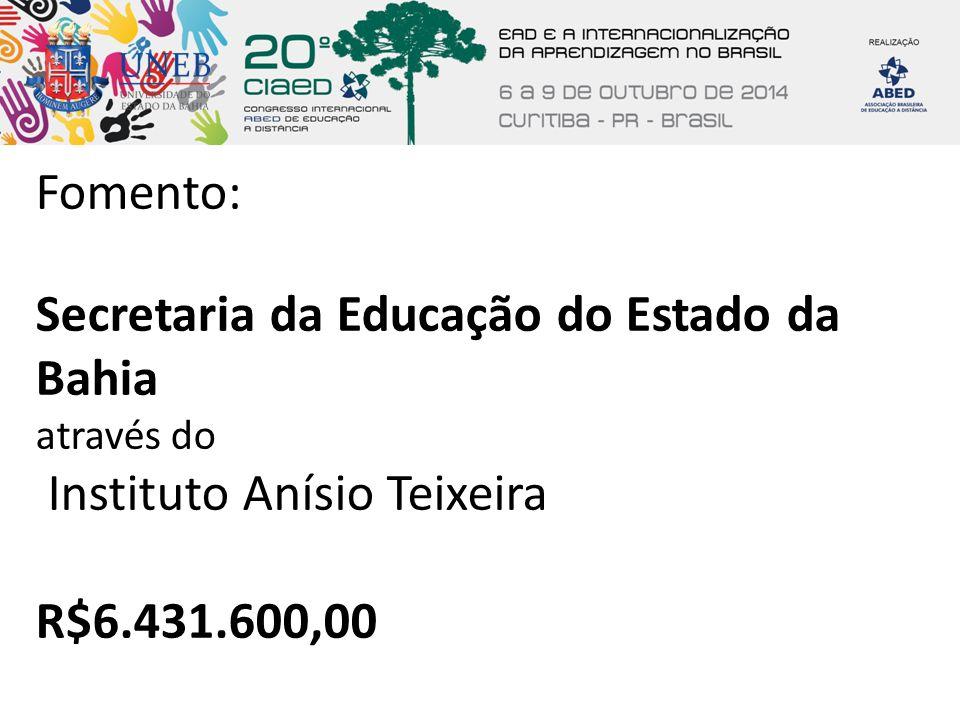 Fomento: Secretaria da Educação do Estado da Bahia através do Instituto Anísio Teixeira R$6.431.600,00