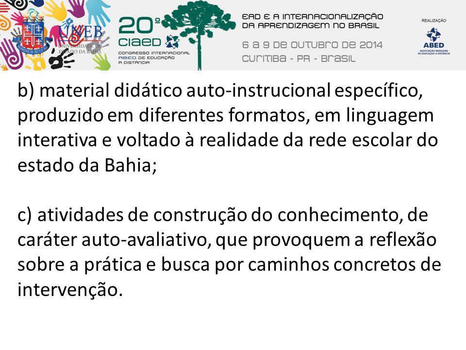 b) material didático auto-instrucional específico, produzido em diferentes formatos, em linguagem interativa e voltado à realidade da rede escolar do