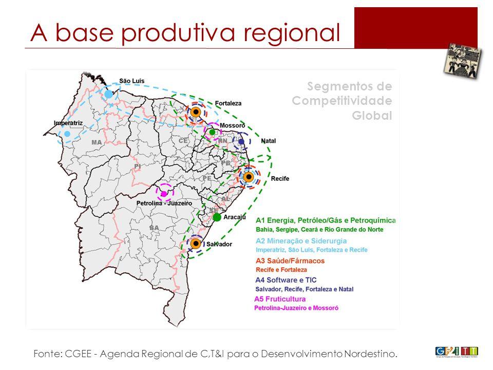 21 Segmentos de Competitividade Global Fonte: CGEE - Agenda Regional de C,T&I para o Desenvolvimento Nordestino.