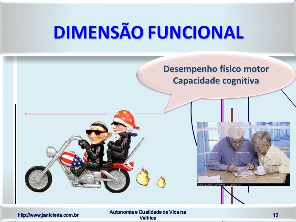 Desempenho físico motor Capacidade cognitiva Desempenho físico motor Capacidade cognitiva http://www.janicleria.com.br Autonomia e Qualidade de Vida na Velhice 10