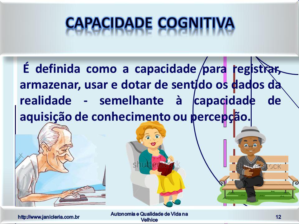 É definida como a capacidade para registrar, armazenar, usar e dotar de sentido os dados da realidade - semelhante à capacidade de aquisição de conhecimento ou percepção.