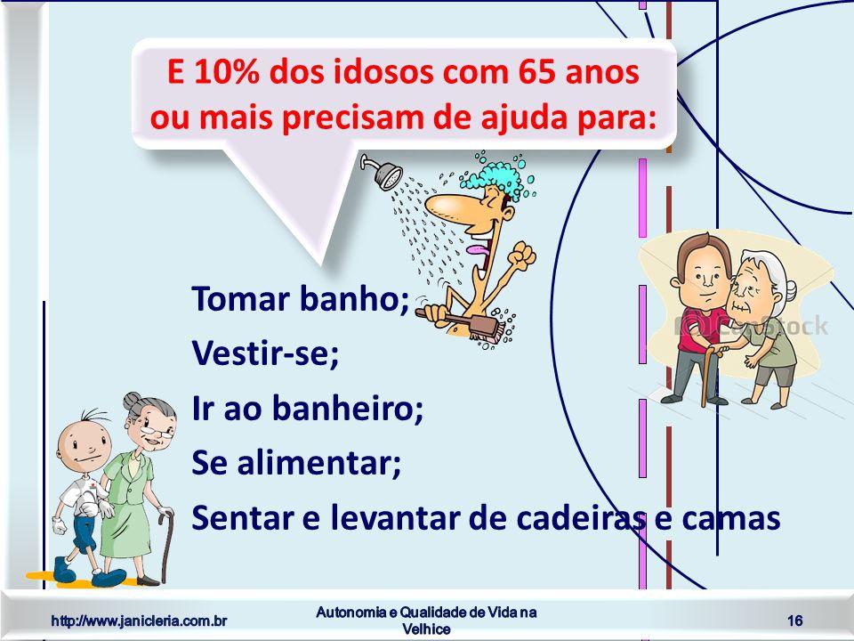 http://www.janicleria.com.br Autonomia e Qualidade de Vida na Velhice 16 E 10% dos idosos com 65 anos ou mais precisam de ajuda para: Tomar banho; Vestir-se; Ir ao banheiro; Se alimentar; Sentar e levantar de cadeiras e camas