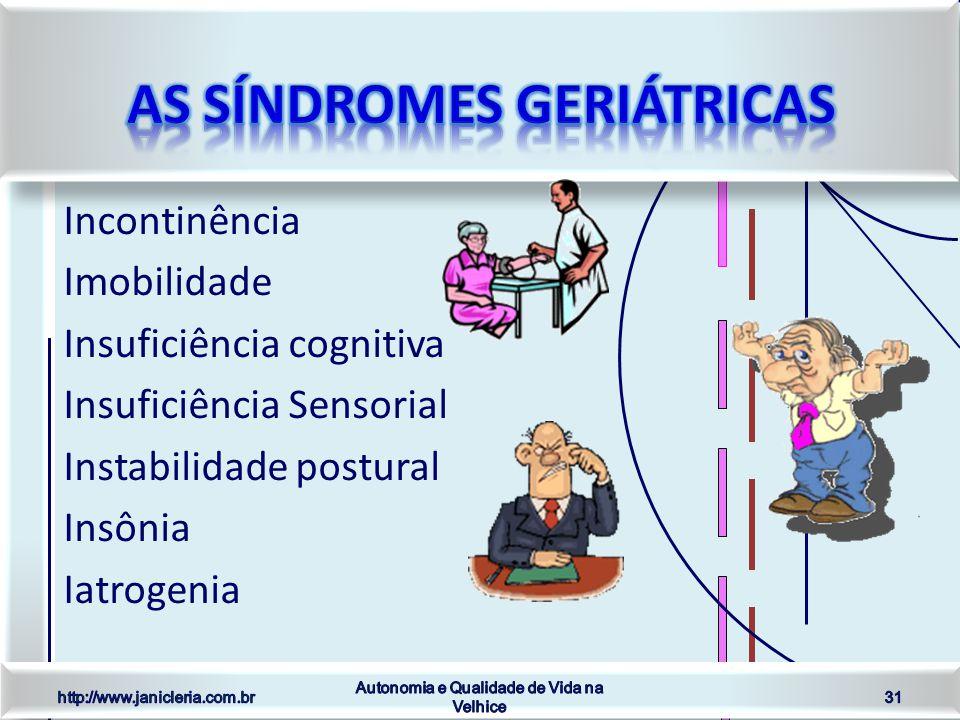Incontinência Imobilidade Insuficiência cognitiva Insuficiência Sensorial Instabilidade postural Insônia Iatrogenia http://www.janicleria.com.br Autonomia e Qualidade de Vida na Velhice 31