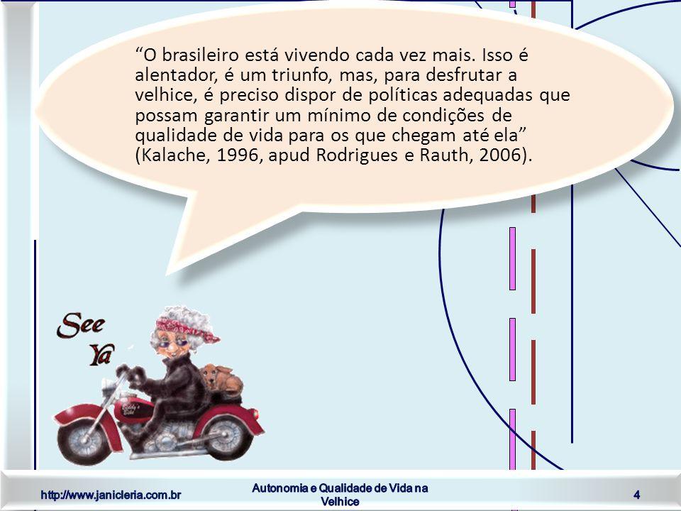 http://www.janicleria.com.br Autonomia e Qualidade de Vida na Velhice 4 O brasileiro está vivendo cada vez mais.