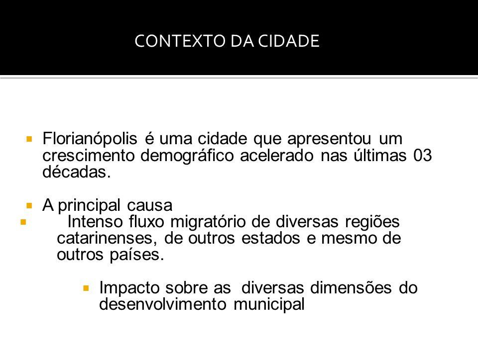  Florianópolis é uma cidade que apresentou um crescimento demográfico acelerado nas últimas 03 décadas.