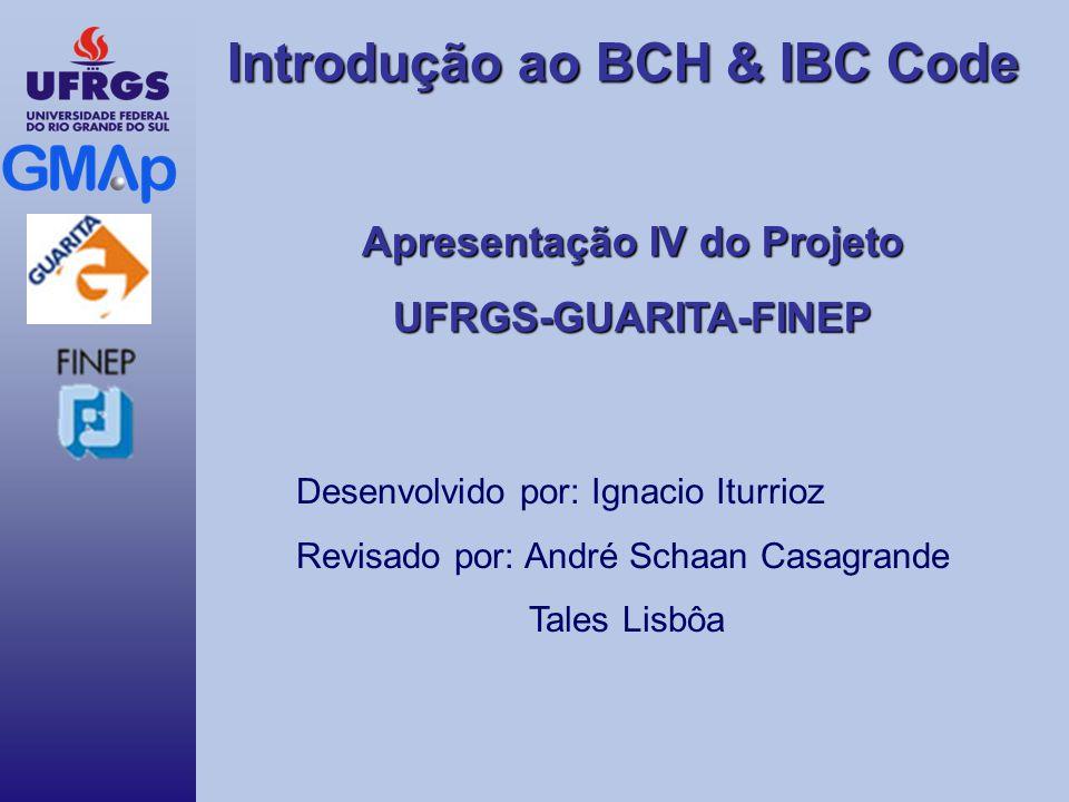 Introdução ao BCH & IBC Code Apresentação IV do Projeto UFRGS-GUARITA-FINEP Desenvolvido por: Ignacio Iturrioz Revisado por: André Schaan Casagrande T