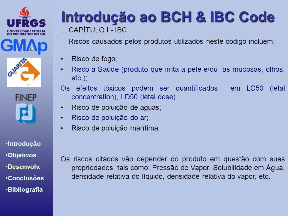 Introdução ao BCH & IBC Code Introdução Objetivos Desenvolv. Conclusões Bibliografia Riscos causados pelos produtos utilizados neste código incluem: R