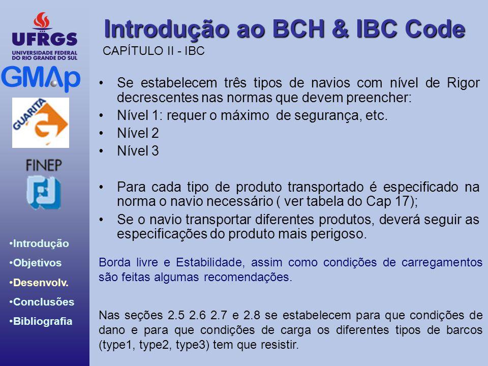 Introdução ao BCH & IBC Code Introdução Objetivos Desenvolv. Conclusões Bibliografia Se estabelecem três tipos de navios com nível de Rigor decrescent