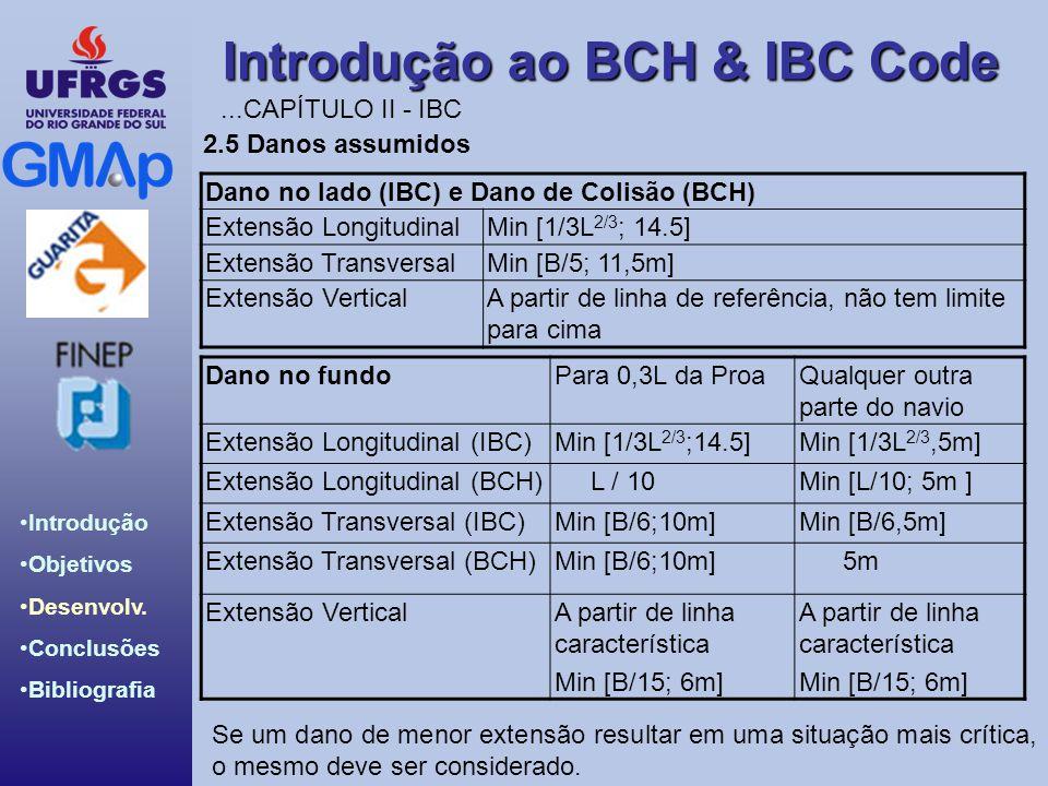 Introdução ao BCH & IBC Code Introdução Objetivos Desenvolv. Conclusões Bibliografia Dano no fundoPara 0,3L da ProaQualquer outra parte do navio Exten