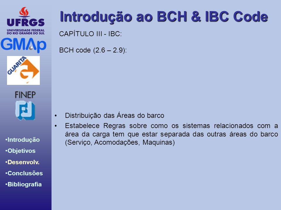 Introdução ao BCH & IBC Code Introdução Objetivos Desenvolv. Conclusões Bibliografia Distribuição das Áreas do barco Estabelece Regras sobre como os s